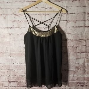 Massimo sequins black tank top